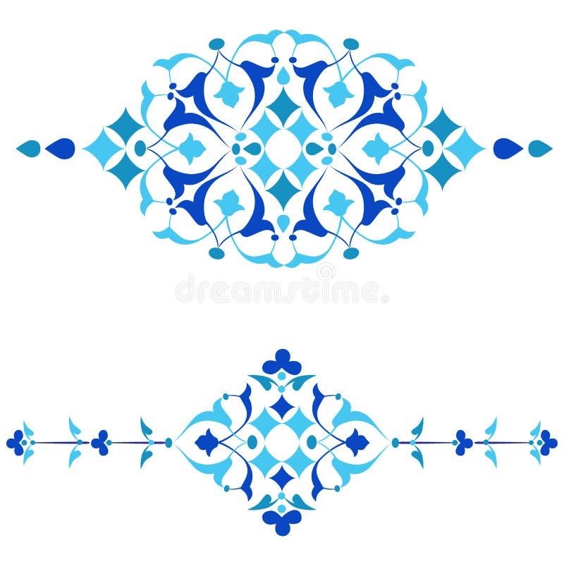 Blauwe het ontwerpreeks van ottomanemotieven van vierenvijftig ai stock illustratie