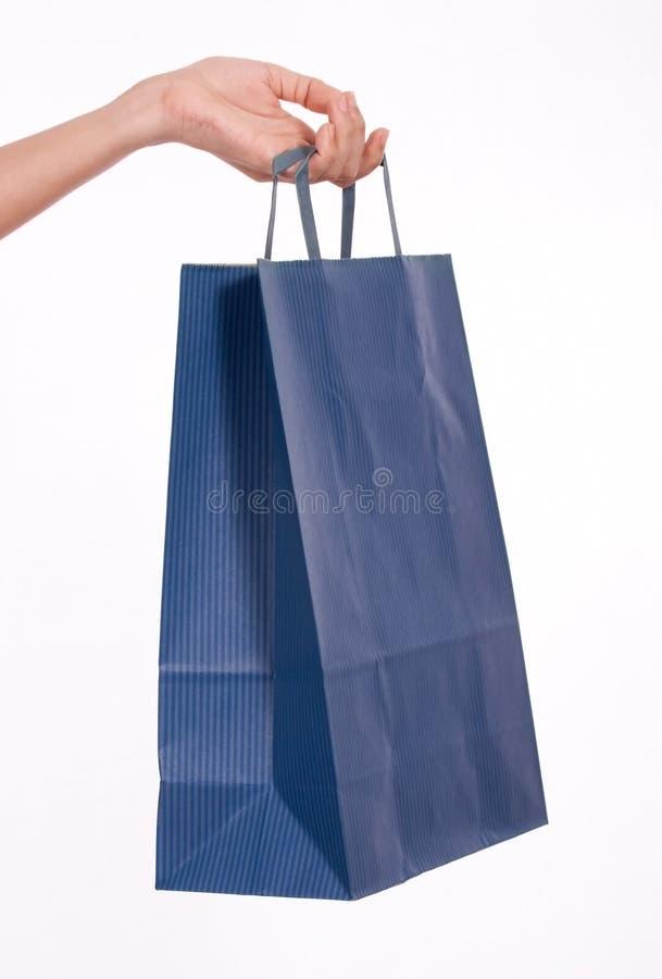 Blauwe het winkelen zak stock afbeeldingen