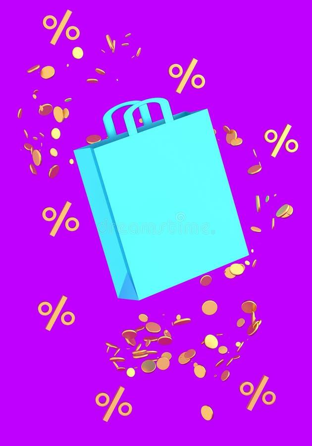 Blauwe het winkelen zak met muntstukken en symbolen van percenten op violette 3D illustratie als achtergrond stock illustratie