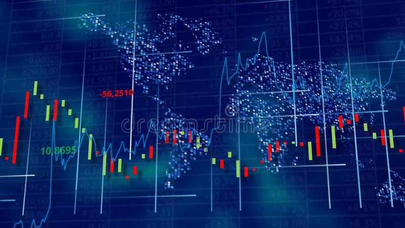 Blauwe hi-tech achtergrond - voorraaddiagrammen, grafieken en lijsten stock illustratie
