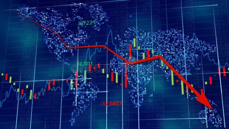 Blauwe hi-tech achtergrond - voorraaddiagrammen met dalende pijl royalty-vrije illustratie