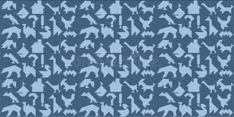 Blauwe houten achtergrond met silhouetten voor raadseltangrams stock foto's