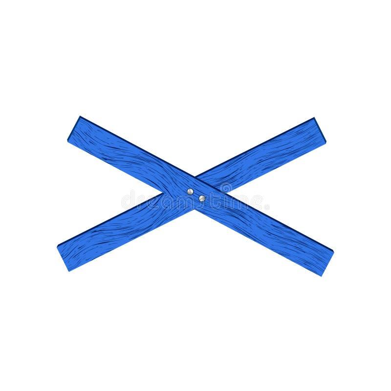 Blauwe houten barrière in dwarsvorm royalty-vrije stock afbeelding