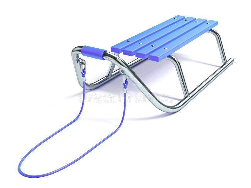 Blauwe houten 3D metaalslee stock illustratie