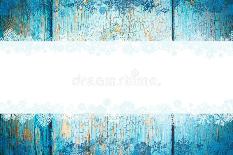 Blauwe houten mooie Kerstmisachtergrond met sneeuwvlokken en plaats voor tekst royalty-vrije illustratie