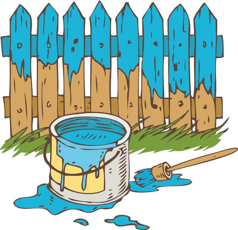 Blauwe Houten Omheining met Penseel en Tinblik van Verf stock illustratie
