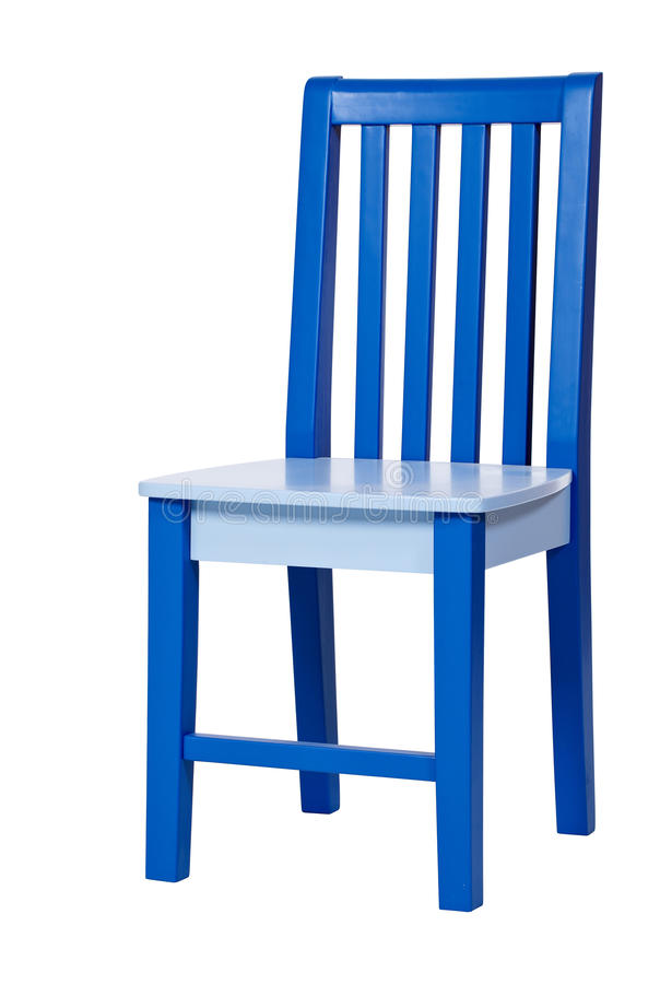 Blauwe houten stoel die over wit wordt geïsoleerdd royalty-vrije stock foto's