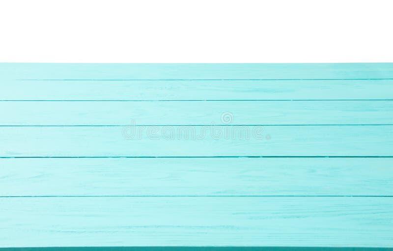 Blauwe houten textuur als achtergrond die met exemplaarruimte op witte achtergrond wordt geïsoleerd Hoogste mening en spot op mal stock fotografie