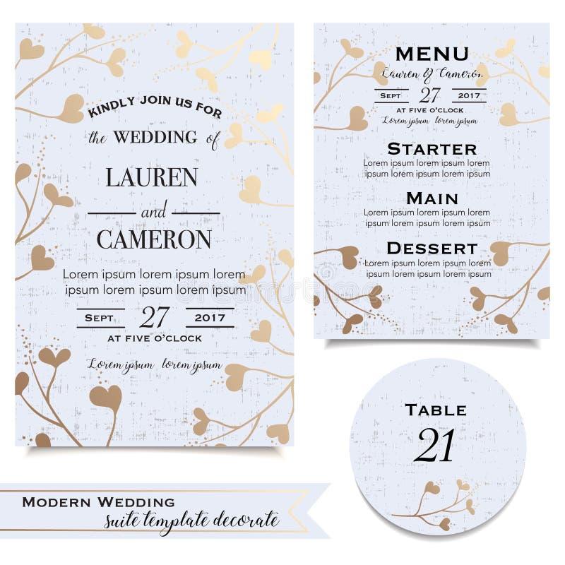 Blauwe huwelijkskaarten met uitnodiging, sparen de datumkaart, menu royalty-vrije illustratie
