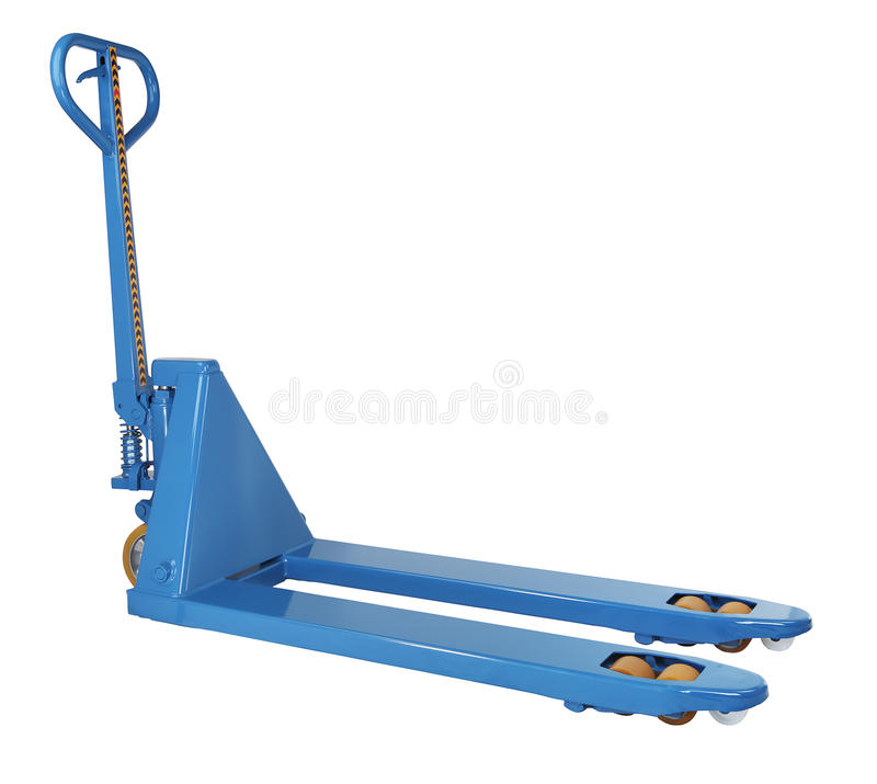 Blauwe hydraulische handhandpallettruckstapelaar, vorkheftruck trolle royalty-vrije stock foto