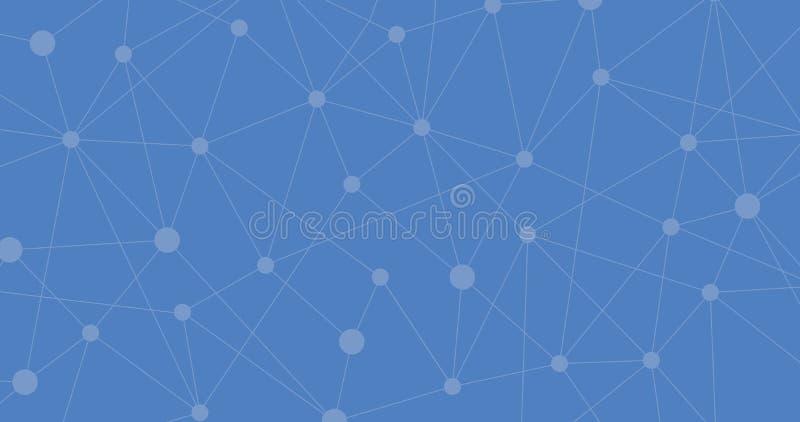 Blauwe Internetverbinding, moleculaire abstracte achtergrond betekenis van wetenschap en technologie grafisch ontwerp Vector illu stock illustratie