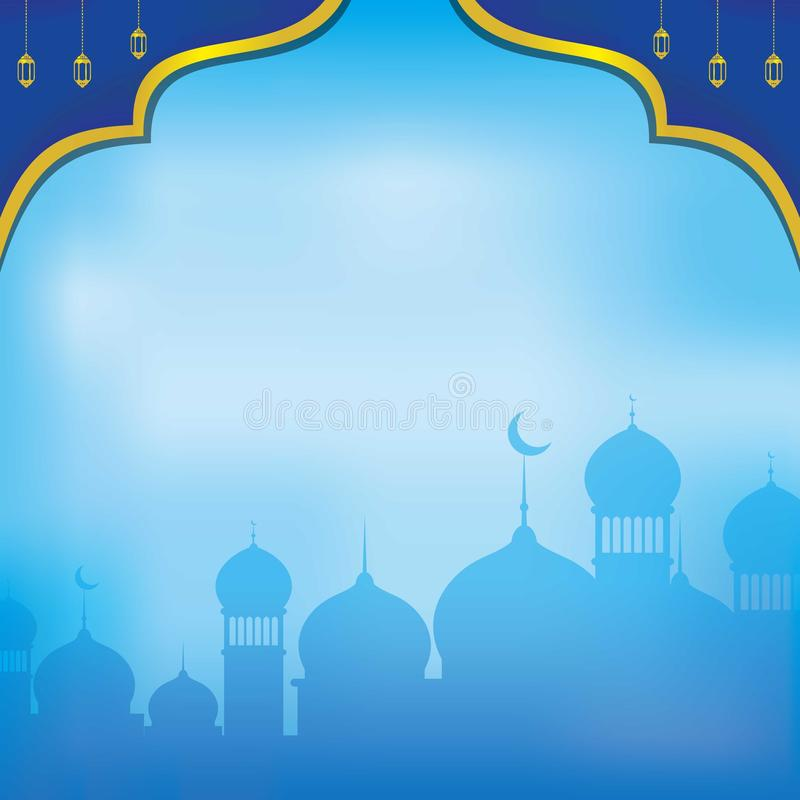 Blauwe Islamitische Backgound Blauw Islamitisch Behang met Ornament vector illustratie