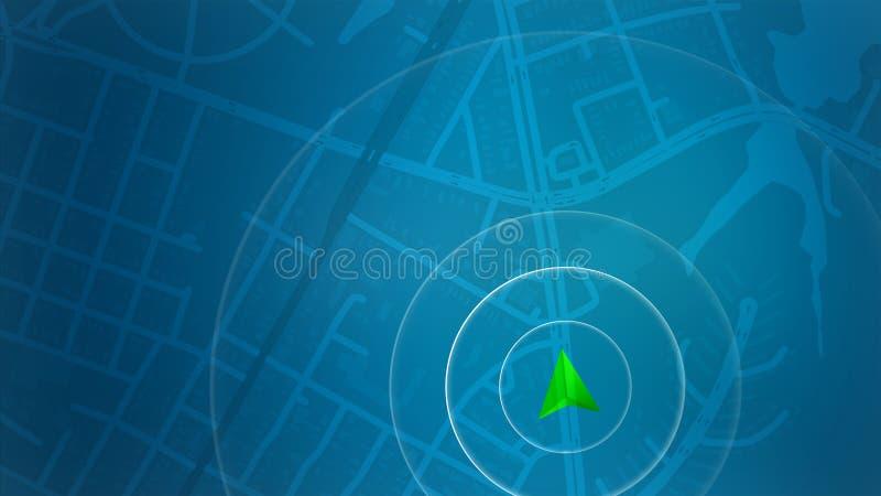 Blauwe kaart met HUD-ontwerp en POI achtergrond stock fotografie