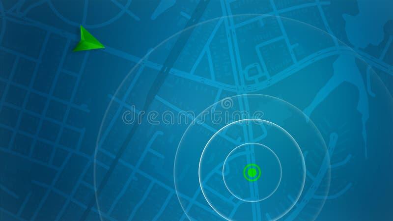 Blauwe kaart met HUD-ontwerp en POI achtergrond royalty-vrije stock fotografie