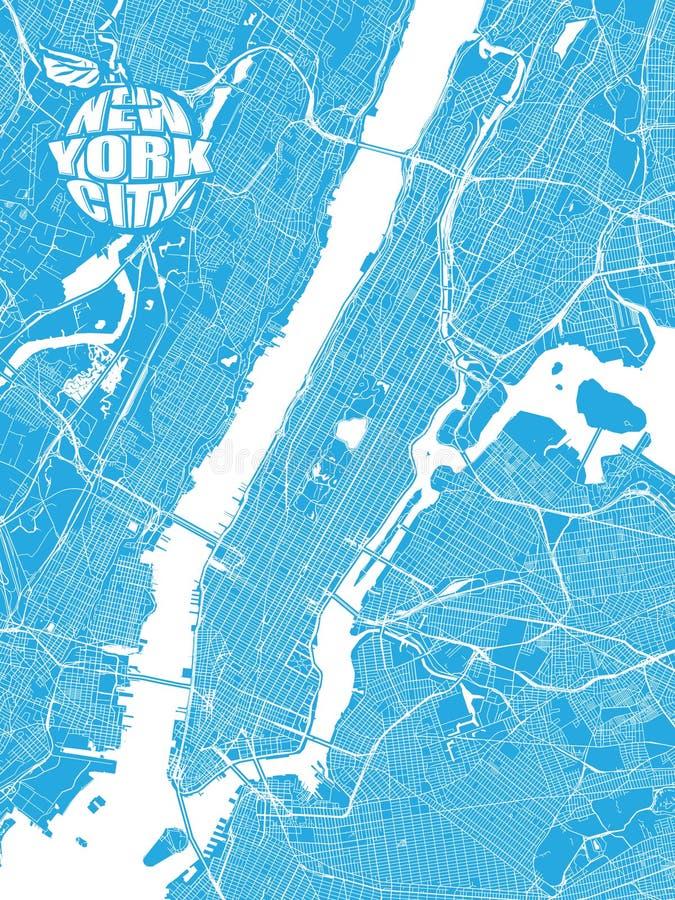 Blauwe kaart van de Stad van New York met Apple-Embleem vector illustratie