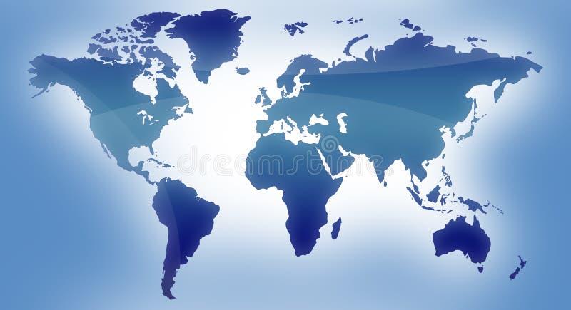 Blauwe kaart van de wereld royalty-vrije illustratie