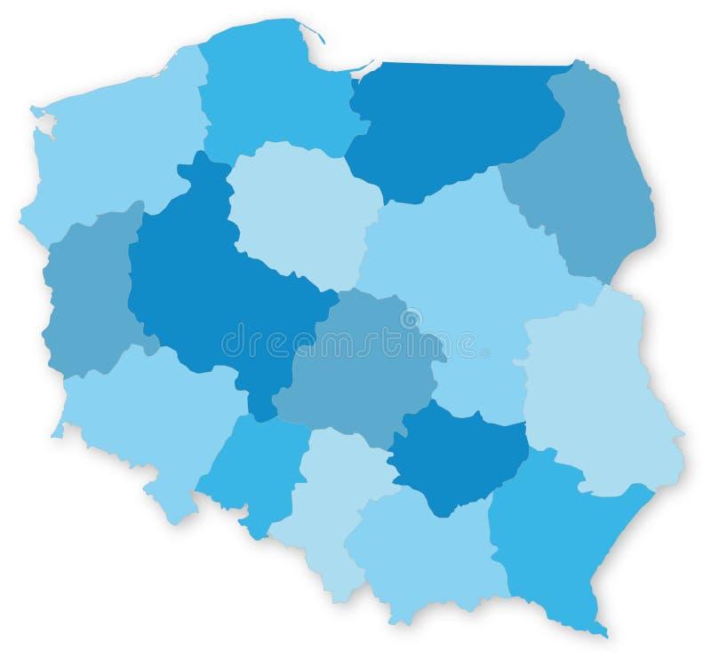 Blauwe kaart van Polen met voivodeships royalty-vrije illustratie