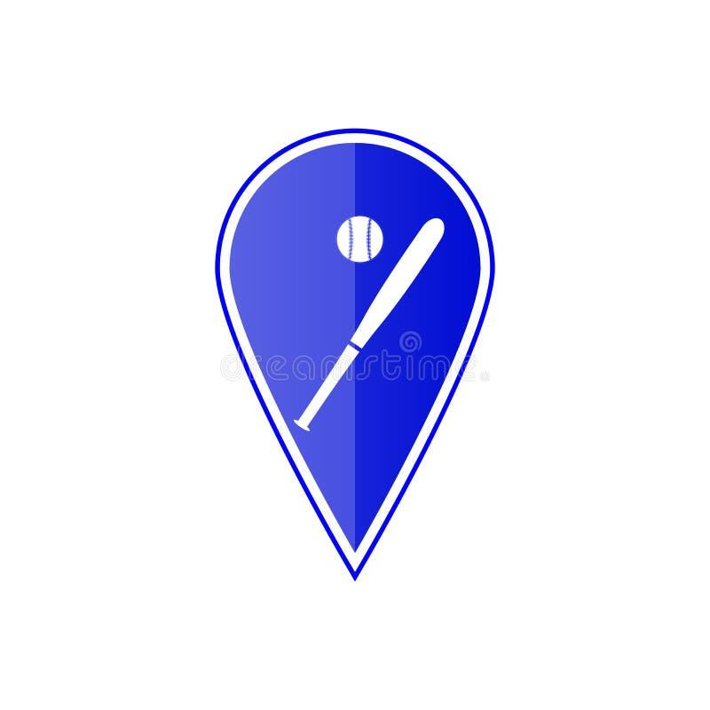 Blauwe kaartwijzer met honkbalbal Vector illustratie vector illustratie