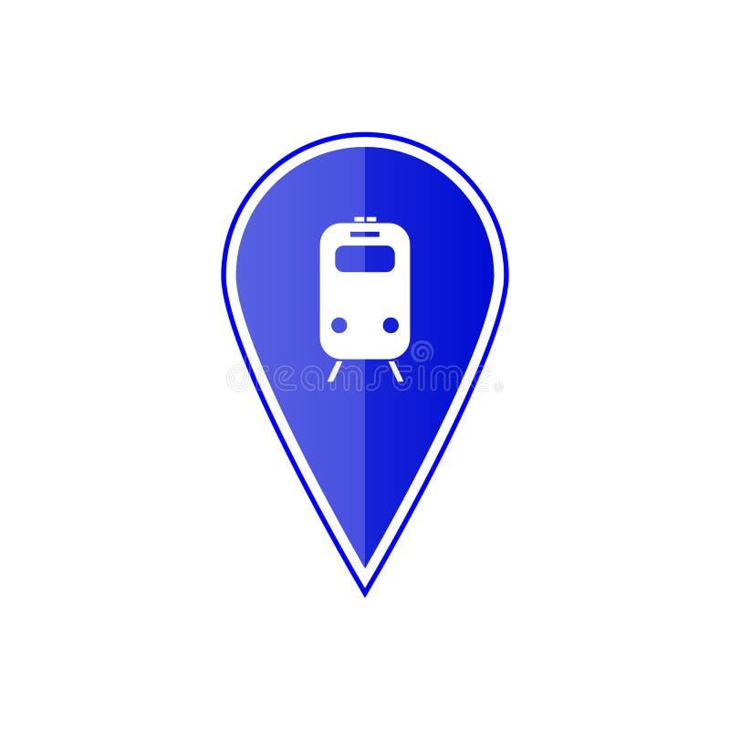 Blauwe kaartwijzer met metro of station Vector illustratie royalty-vrije illustratie