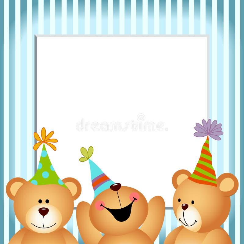 Blauwe Kader Gelukkige Verjaardag Teddy Bears royalty-vrije illustratie