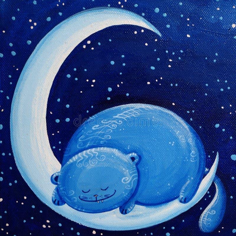 Blauwe Kat op de Maan stock afbeelding