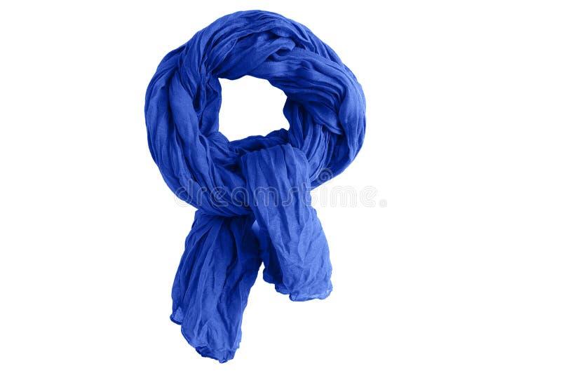 Blauwe katoenen sjaal wit isoleer royalty-vrije stock foto