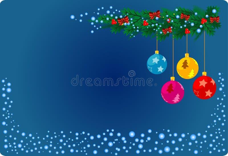 Blauwe Kerstkaart stock illustratie