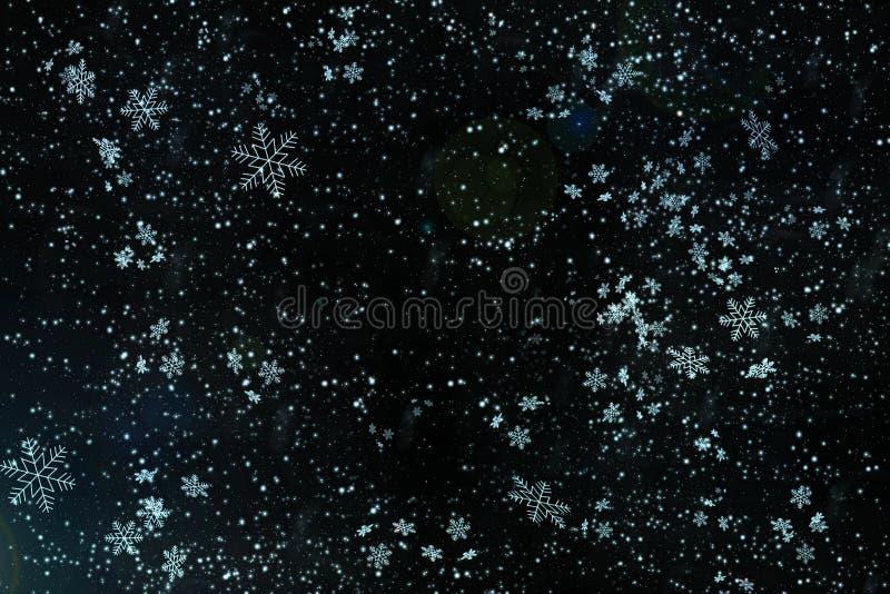 Blauwe Kerstmis achtergrondsneeuwtextuur, abstractie, sneeuwvlokken royalty-vrije stock foto's
