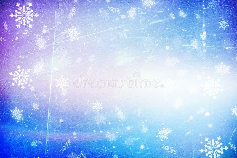 Blauwe Kerstmis achtergrondsneeuwtextuur, abstractie, sneeuwvlokken royalty-vrije stock afbeelding