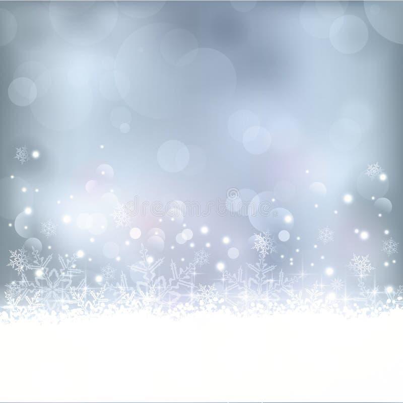 Blauwe Kerstmis, de winterachtergrond vector illustratie