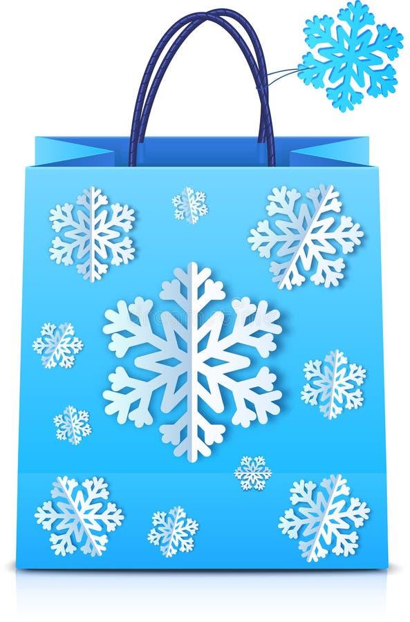 Blauwe Kerstmis het winkelen zak met document sneeuwvlokken stock illustratie