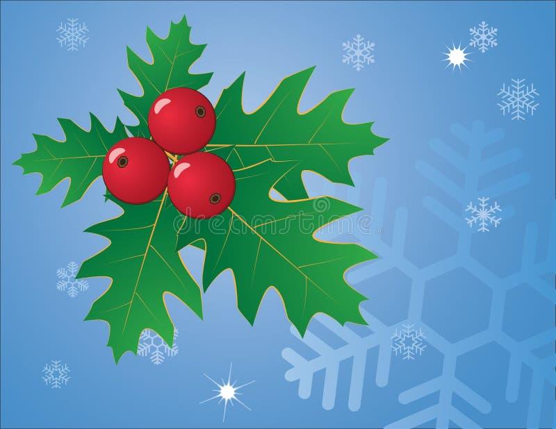 Blauwe Kerstmisachtergrond met groene hulst stock illustratie