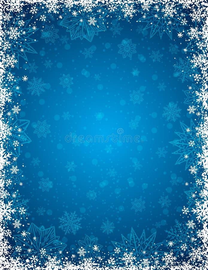 Blauwe Kerstmisachtergrond met kader van sneeuwvlokken en sterren vector illustratie