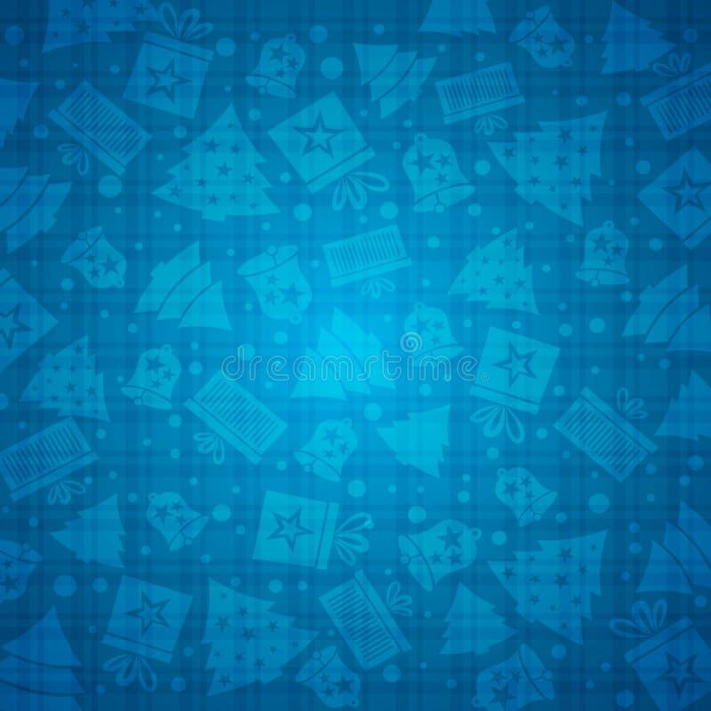 Blauwe Kerstmisachtergrond met klok, ster, sneeuw, boom, vector stock illustratie