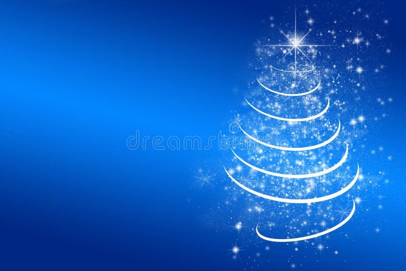 Blauwe Kerstmisachtergrond met witte Kerstmisboom royalty-vrije illustratie