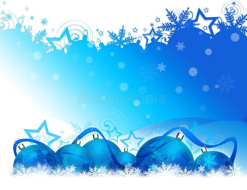 Blauwe Kerstmisballen stock illustratie