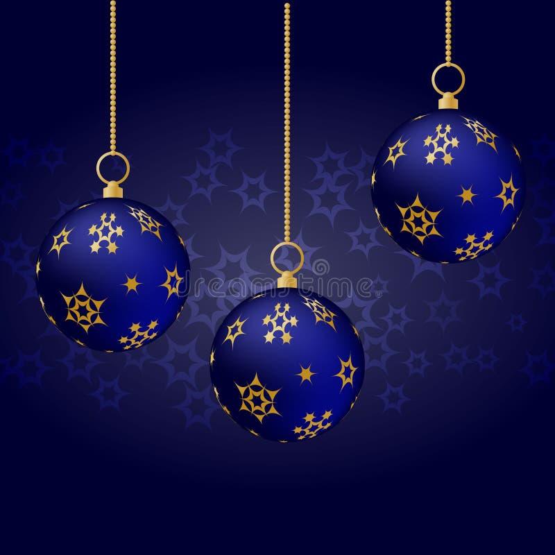 Blauwe Kerstmisballen met het gouden ornament hangen op blauwe achtergrond stock illustratie