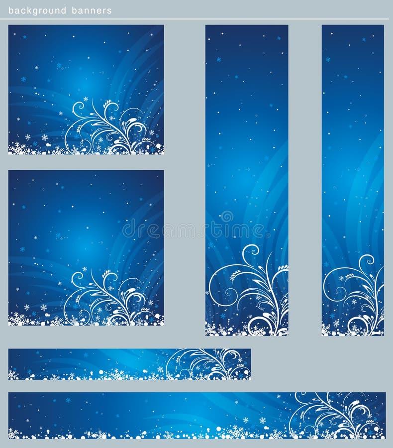 Blauwe Kerstmisbanners, vector royalty-vrije illustratie