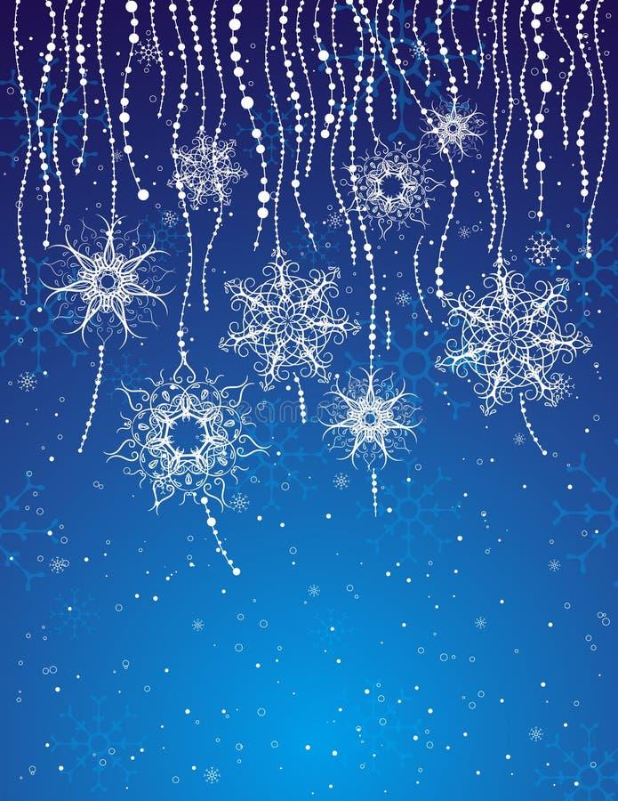 Blauwe Kerstmiskaart, vector stock illustratie