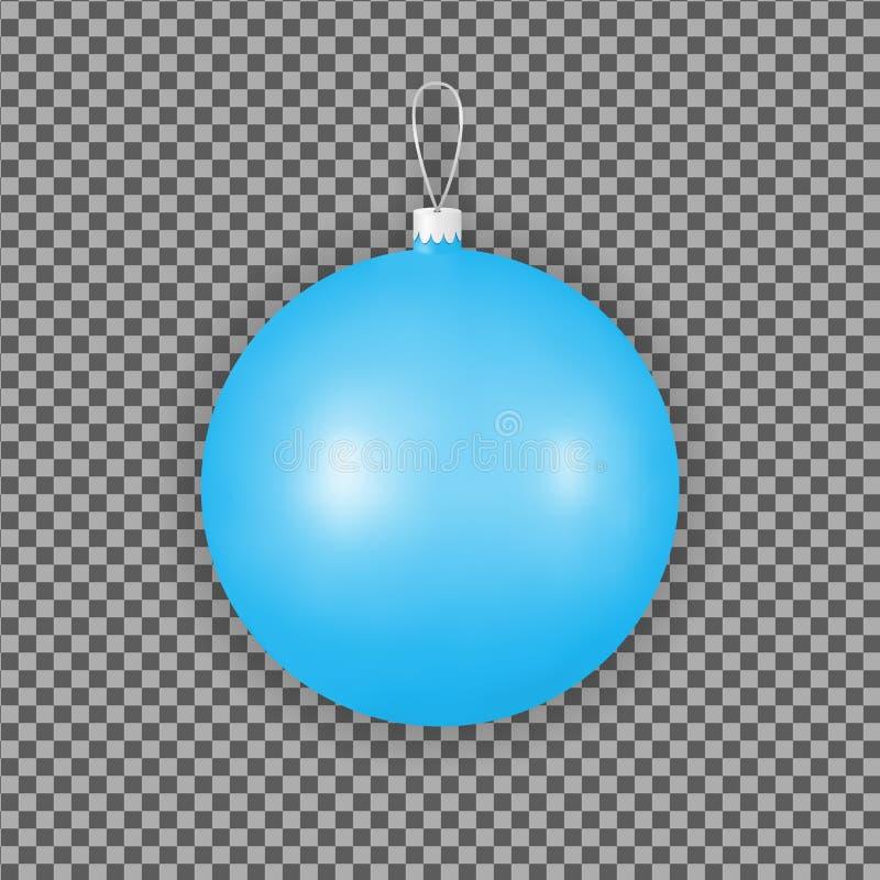 Blauwe Kerstmisornamenten voor vakantiedecoratie Het stuk speelgoed van de glasbal vector illustratie