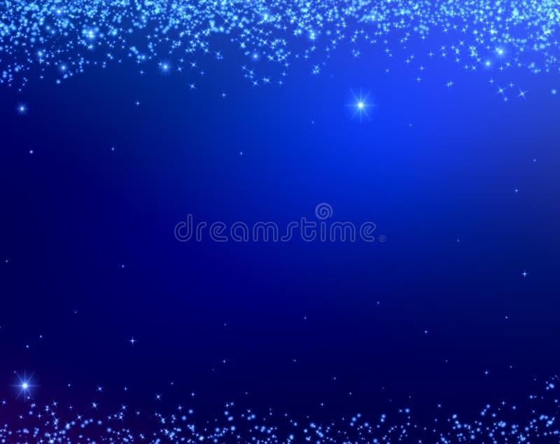 Blauwe Kerstmistextuur als achtergrond met sterren die hierboven vallen van royalty-vrije illustratie