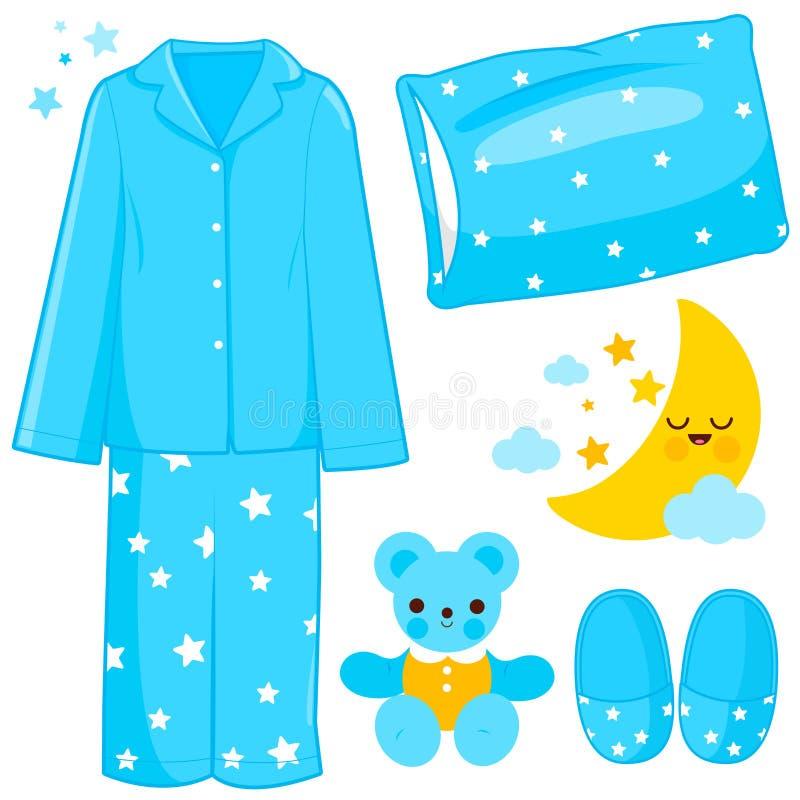Blauwe kinderpyjama's en voorwerpen in verband met de slaaptijd Vectorillustratie vector illustratie