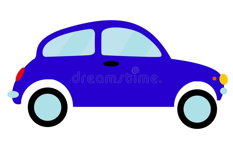 Blauwe kleine oude retro hipster uitstekende antieke two-door auto, vijfdeursauto op een witte achtergrond royalty-vrije illustratie