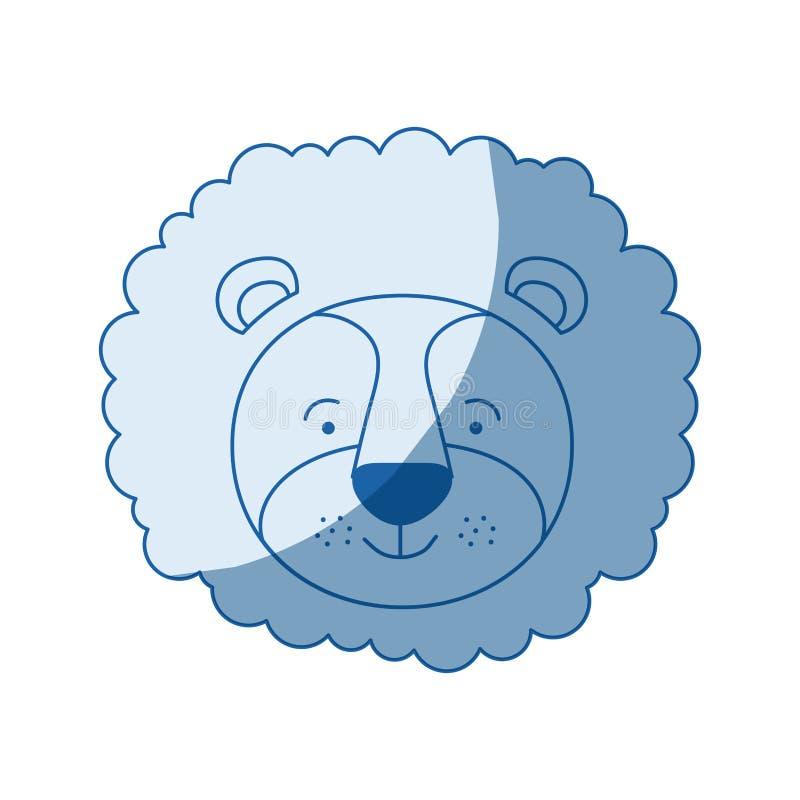 Blauwe kleur die het gezicht van de silhouetkarikatuur van mannelijk leeuwdier in de schaduw stellen stock illustratie