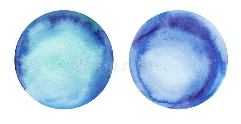 Blauwe kleur twee ronde abstracte waterverf als achtergrond met een radiale gradiënt Hand-drawn document illustratie stock illustratie