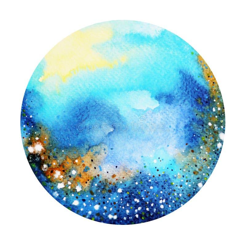 Blauwe kleuren kleurrijke wereld, heelalwaterverf het schilderen achtergrond royalty-vrije illustratie
