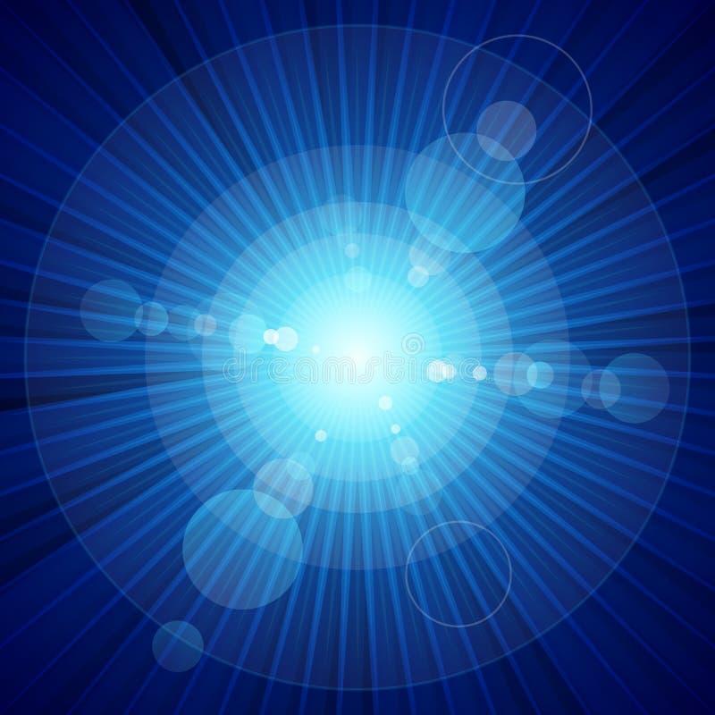 Blauwe kleurenuitbarsting van licht en lensgloed vector illustratie