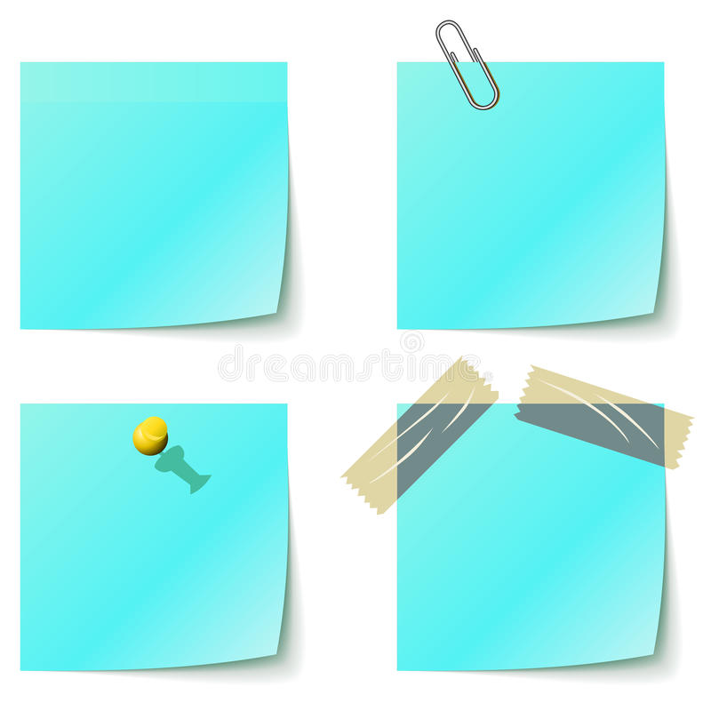 Blauwe kleverige berichtdocumenten vector illustratie