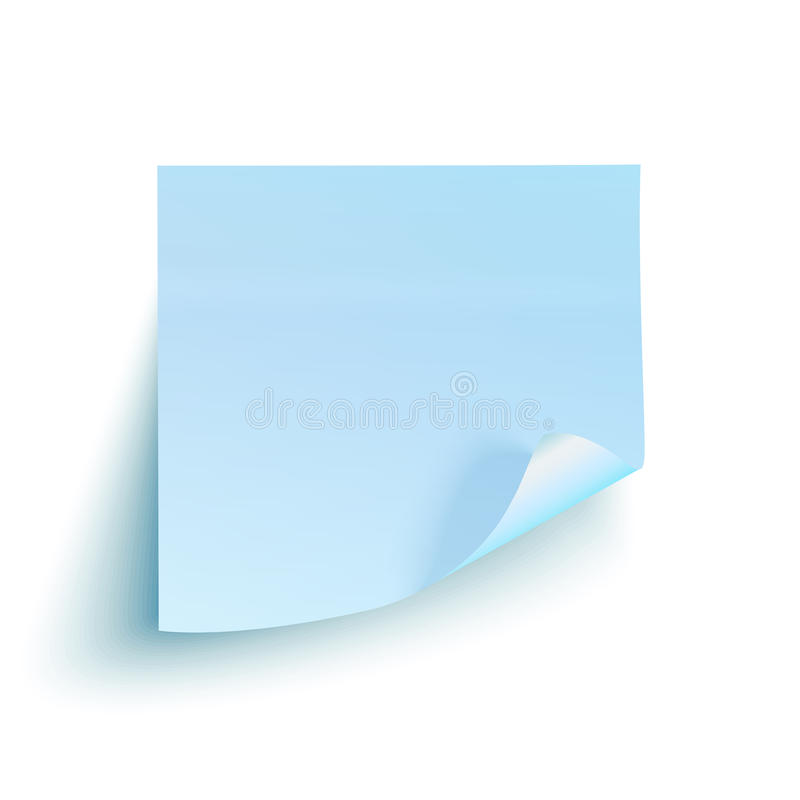 Blauwe kleverige nota over witte achtergrond royalty-vrije illustratie