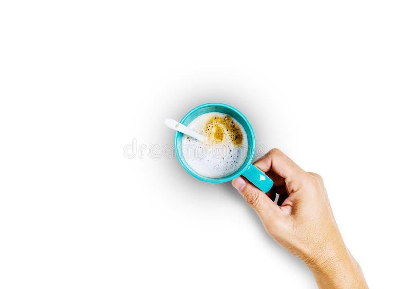Blauwe koffiekop op witte achtergrond stock fotografie